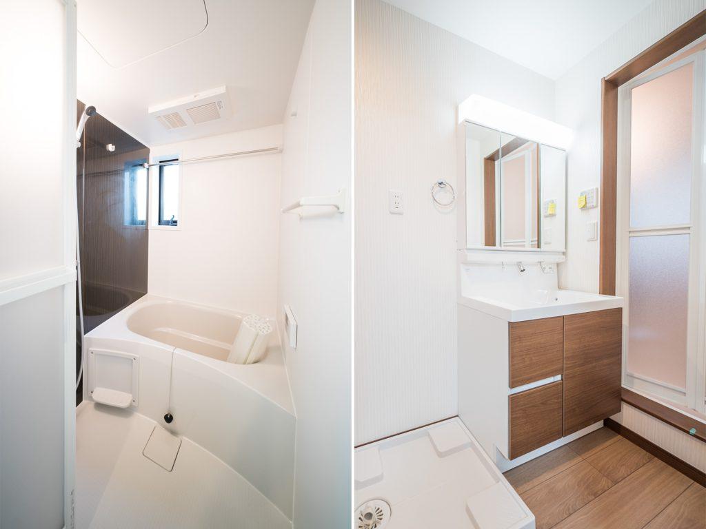 もちろん、ぴかぴかのお風呂と洗面台。