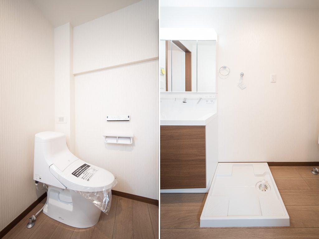 洗濯機置き場、オープン型のトイレ。