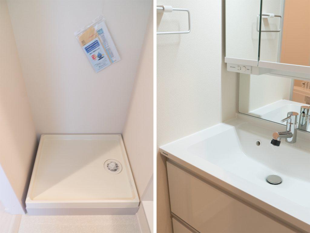 洗濯機置き場と洗面台。
