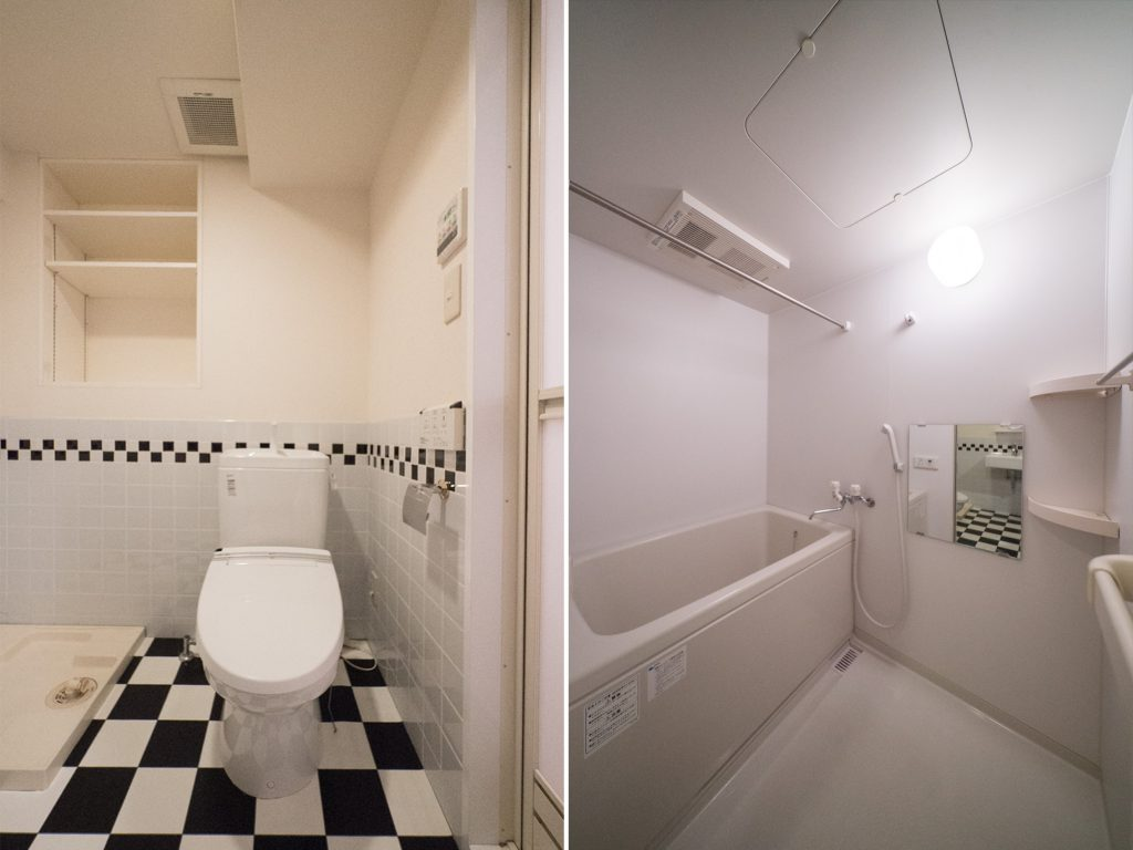 トイレ、浴室。