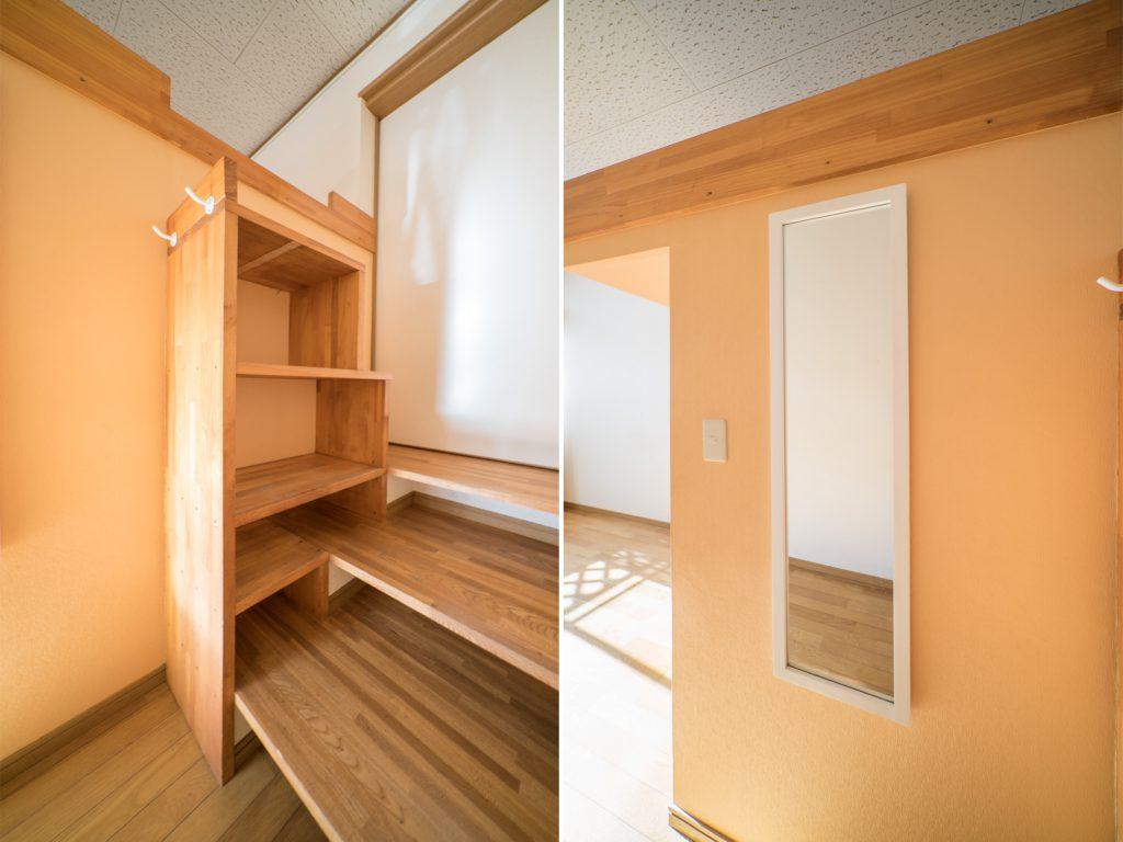 ロフトへの階段は収納にもつかえる。全身鏡もついています。