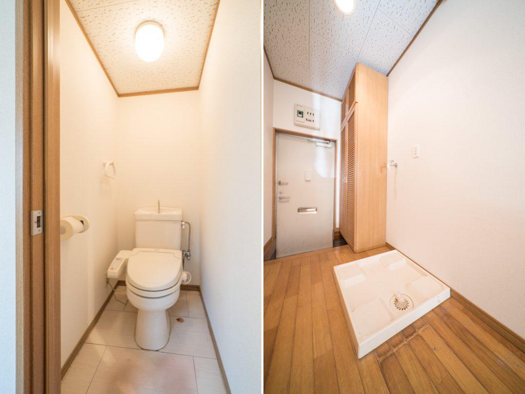温水洗浄つきのトイレ。洗濯機置き場は玄関先に。