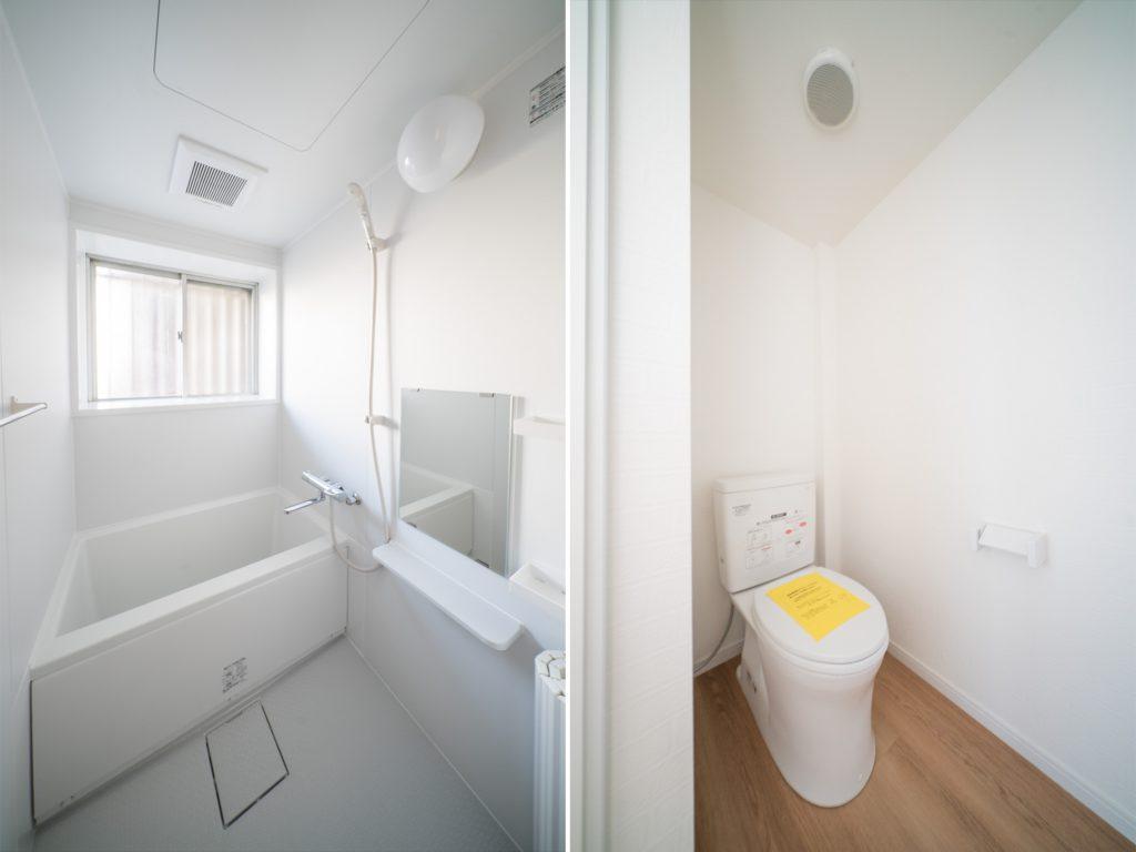 清潔感のあるさっぱりとしたお風呂。ゆとりのあるトイレ。
