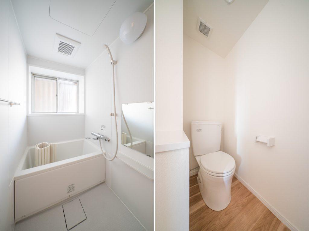 清潔感のあるさっぱりとしたお風呂。オープンなつくりのトイレ。