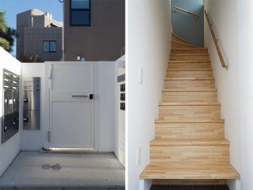 オートロック&宅配BOX付きのエントランスと玄関開けてすぐの階段。
