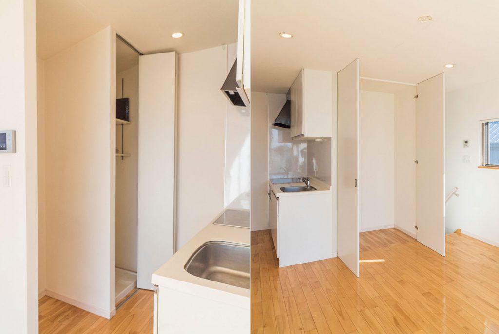 キッチンの前が洗濯機置き場、リビング側にも収納があります。(内装)