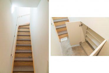 メゾネットの階段部分。長めの玄関、シューズボックスあります。(内装)