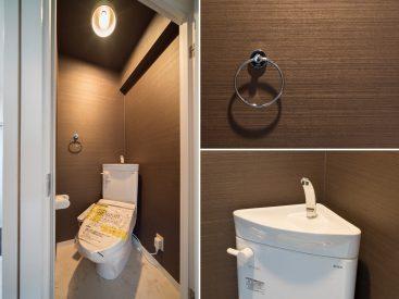 トイレは個室にナナメに置かれています。ちょっとせまいかも。