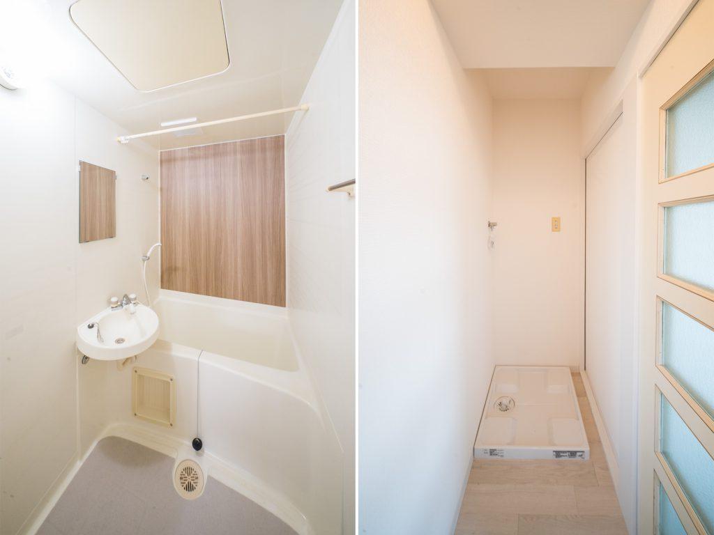 お風呂はコンパクトサイズ。洗濯機置き場はキッチンの一角に。