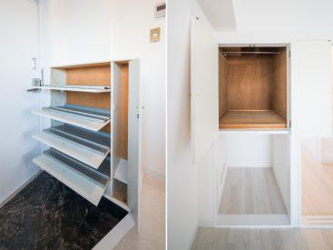 玄関先のフラップ型のシューズラック。洋室にも小さな収納があります。