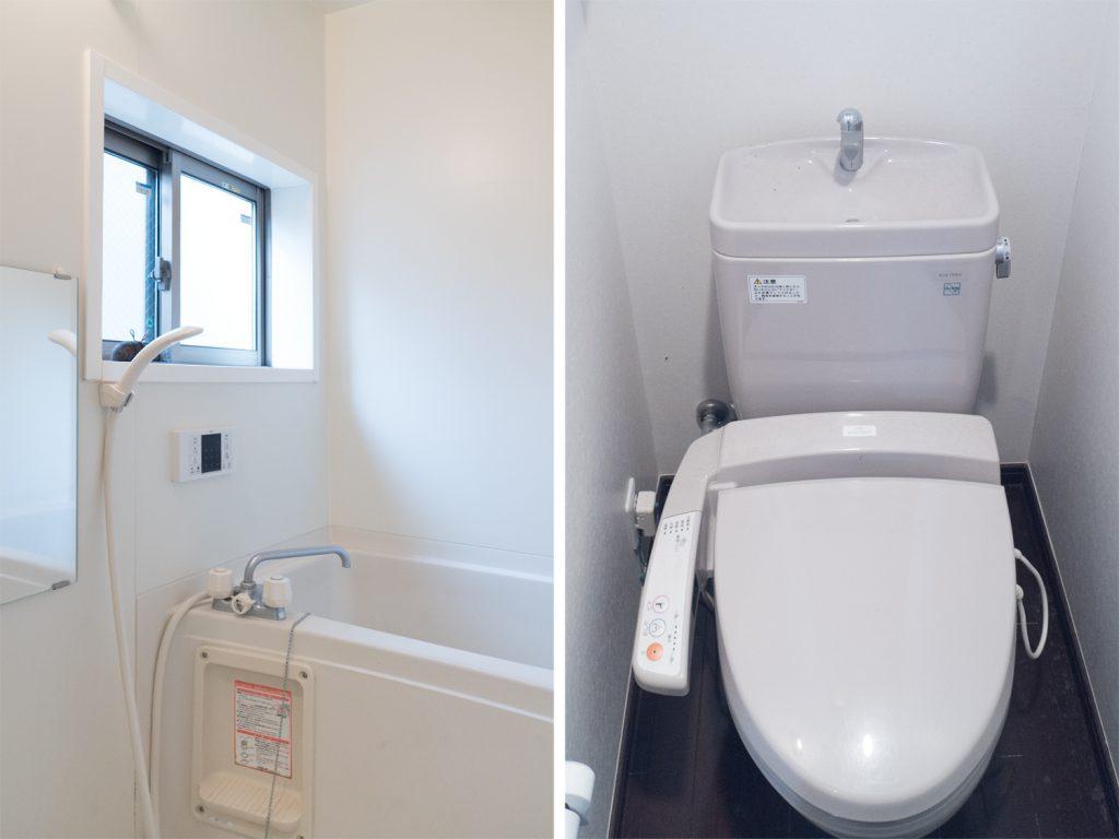 バスルームとトイレ。どちらにも窓がついています。
