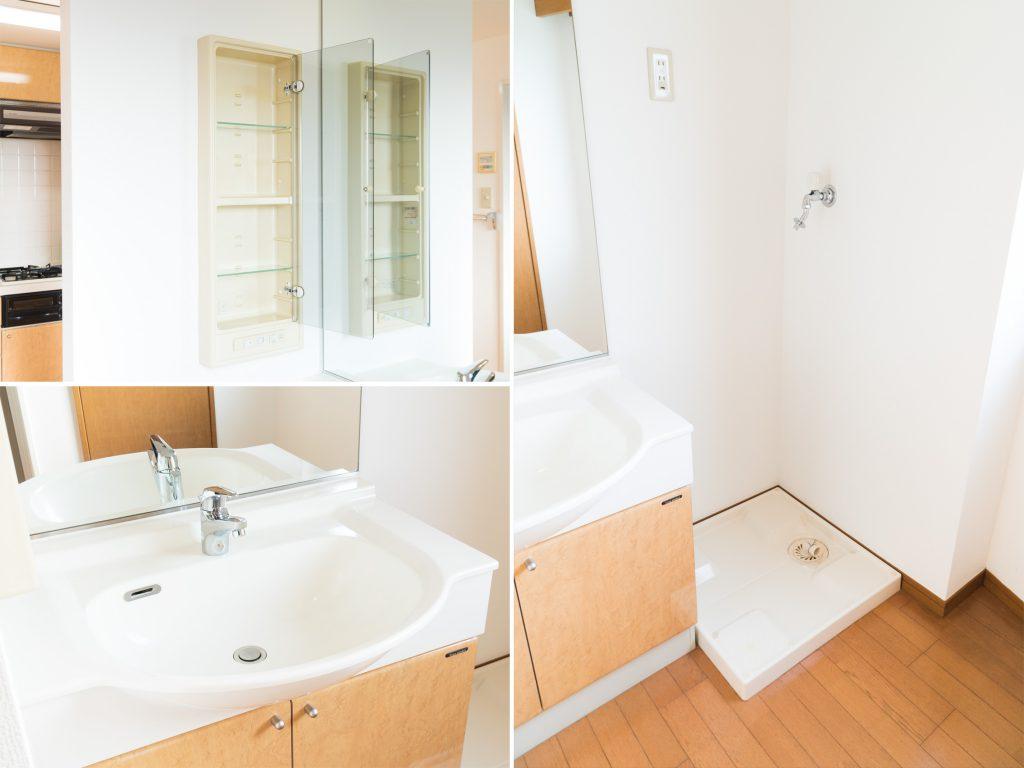 電源がついた収納に、大きな洗面ボールがうれしい洗面台。洗濯機置き場は、洗面台の横にすっぽりと。