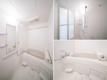 お風呂も新品。ゆとりのあるつくりで、ゆったり入浴できる。
