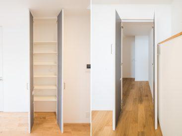 室内には高さのある収納と、奥行きのある収納がふたつ。