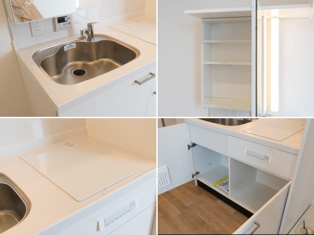 2口コンロにちいさめのシンク、収納もひとりぶんのキッチン。