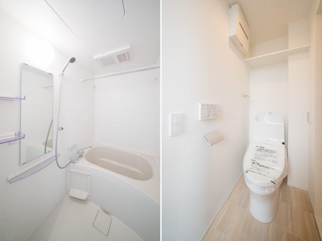 お風呂、トイレは新品。お風呂はゆとりのあるつくりで、ゆったり入浴できる。