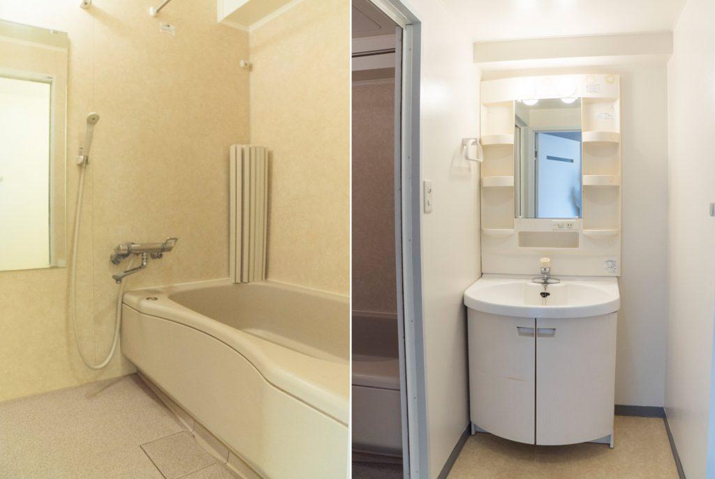 洗面台、お風呂ひろいです。きれいめ。(風呂)