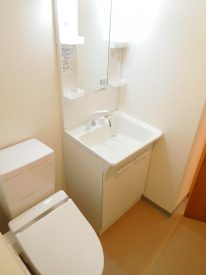 サニタリールームは白で清潔感を