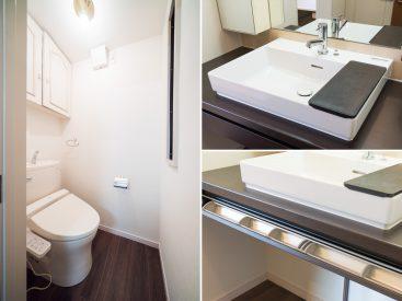 洗面台の向かいにはトイレ。洗面天板に隠し収納ありました。