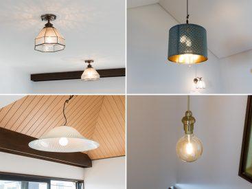 部屋の照明たち。モダンなデザインが、鎌倉を彷彿とさせる。