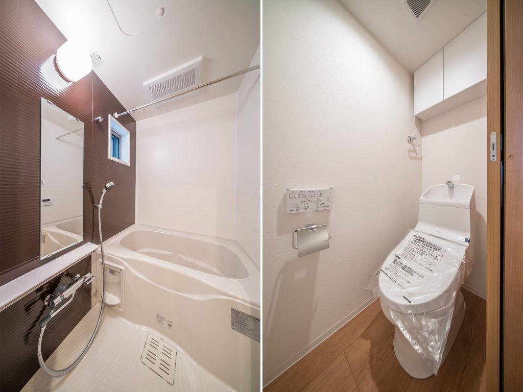 足を伸ばして小窓を開けてゆっくり入れるお風呂。掃除用具やトイレットペーパーが仕舞える収納付きのトイレ。