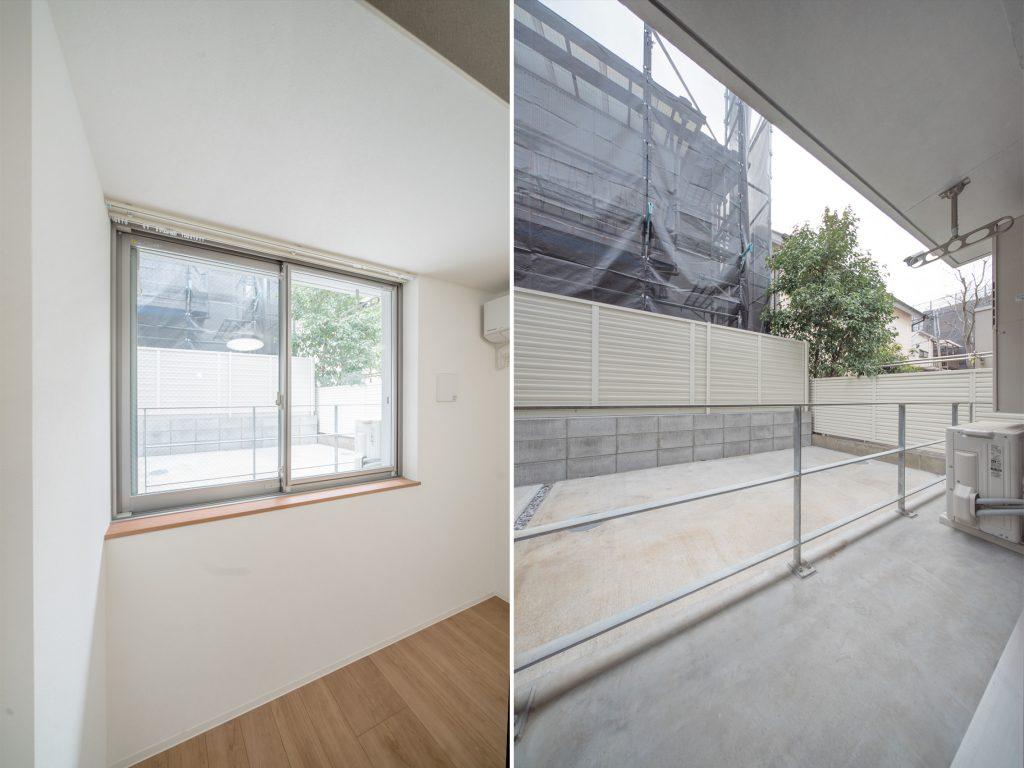 バルコニーは窓の位置に合わせられているので高め。バルコニーに出るときは、踏み台やステップチェアがあるといい。
