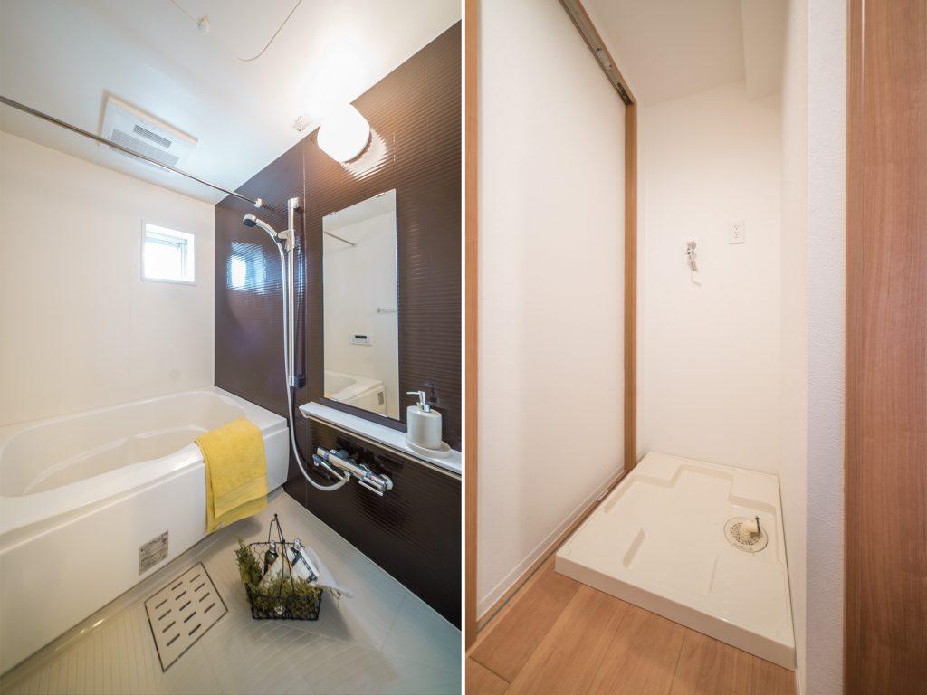 足を伸ばして小窓を開けてゆっくり入れるお風呂。洗濯機置き場は玄関先に。