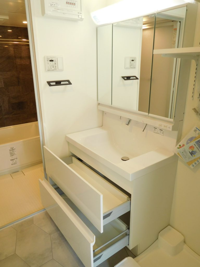 3面鏡&2段引出で収納も多い洗面台。