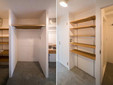 キッチン横には、冷蔵庫。後ろのシェルフには食器や調味料を飾っておこう。