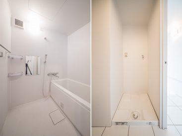 お風呂は清潔感たっぷりのきれいさ。洗濯機置き場もしっかり室内に。