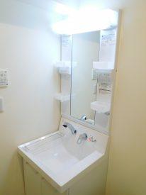 独立洗面台は鏡面サイドや洗面台に仮置き場など実用性もしっかり考慮