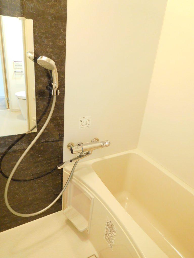 アクセントパネル付きの浴室