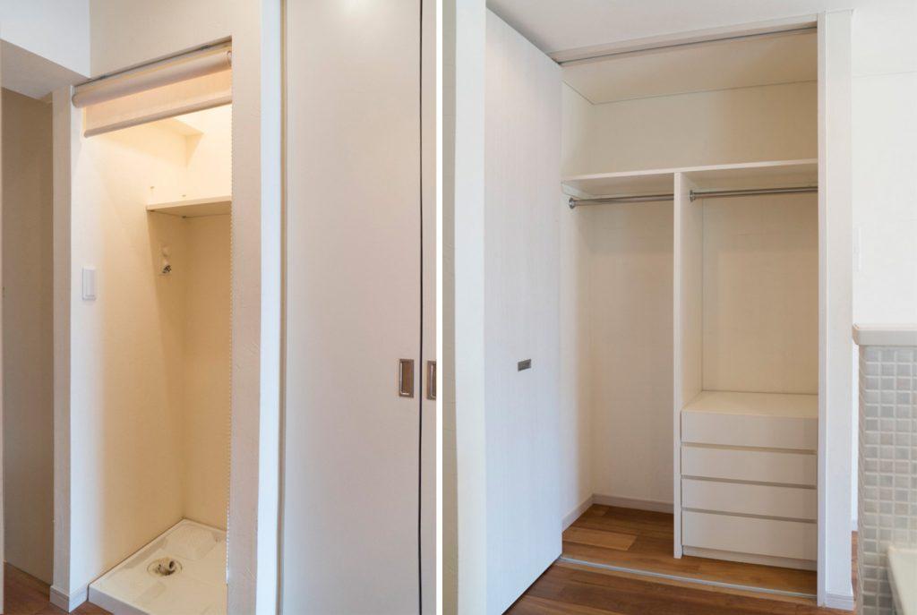 室内洗濯機置き場とクローゼット。