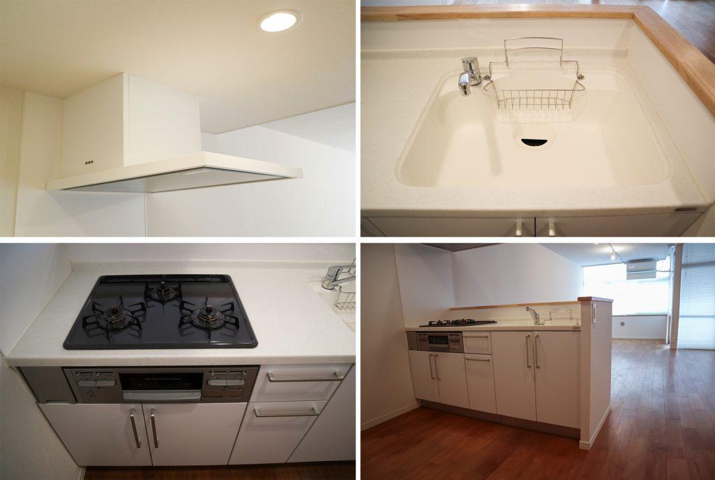 白を基調としたキッチン。(キッチン)