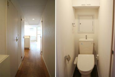 廊下にトイレとサニタリーがあります。(内装)