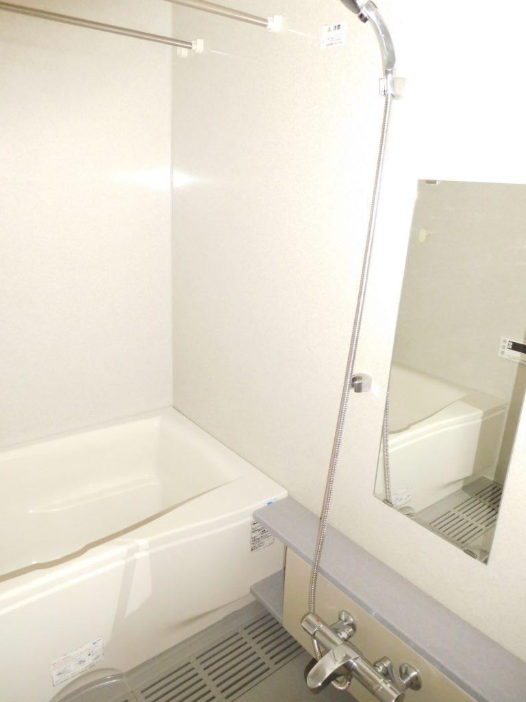 白で統一されて清潔感満載な浴室。ランドリーパイプ2本がさりげなくありがたい。