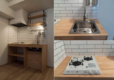 キッチンは木の天板。メトロタイルもいまっぽい。