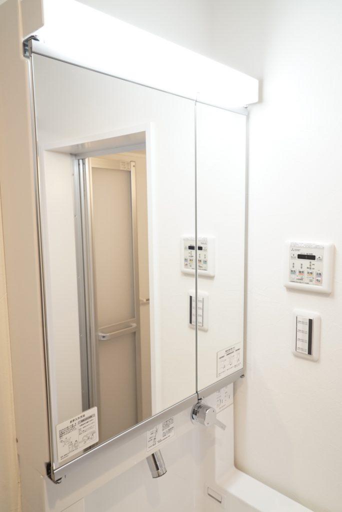 大型の2面鏡の洗面台がオシャレ感を盛ってくれています