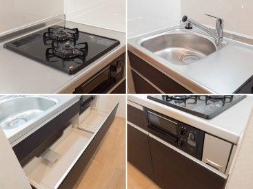 キッチンは、2口グリル付きガスコンロに、収納も使いやすいもの。