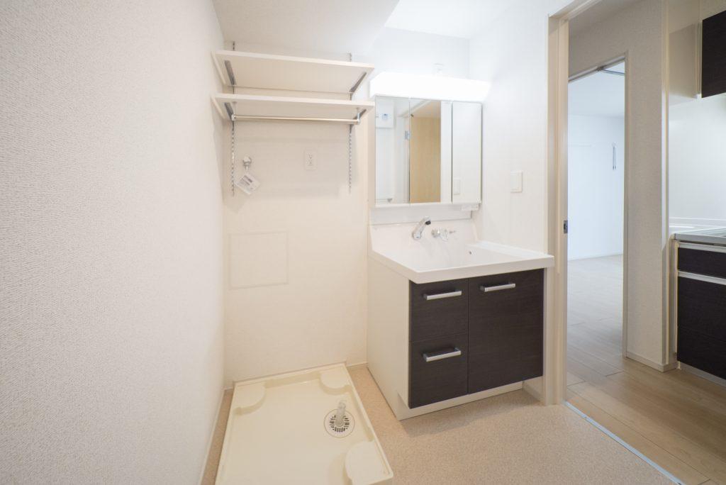 洗濯機置き場、洗面台。