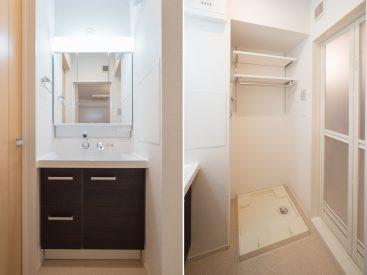 洗面台、洗濯機置き場。