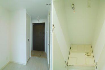 廊下に洗濯機置き場があります。