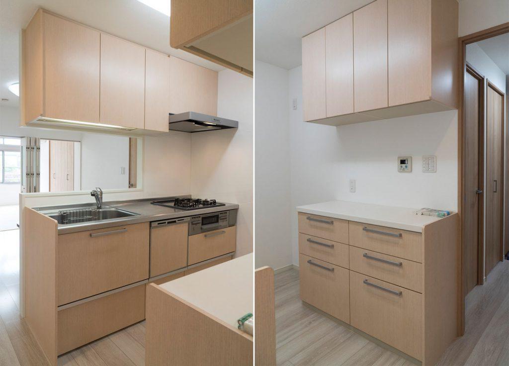 キッチンにも収納多いです。食器棚が別にあります。