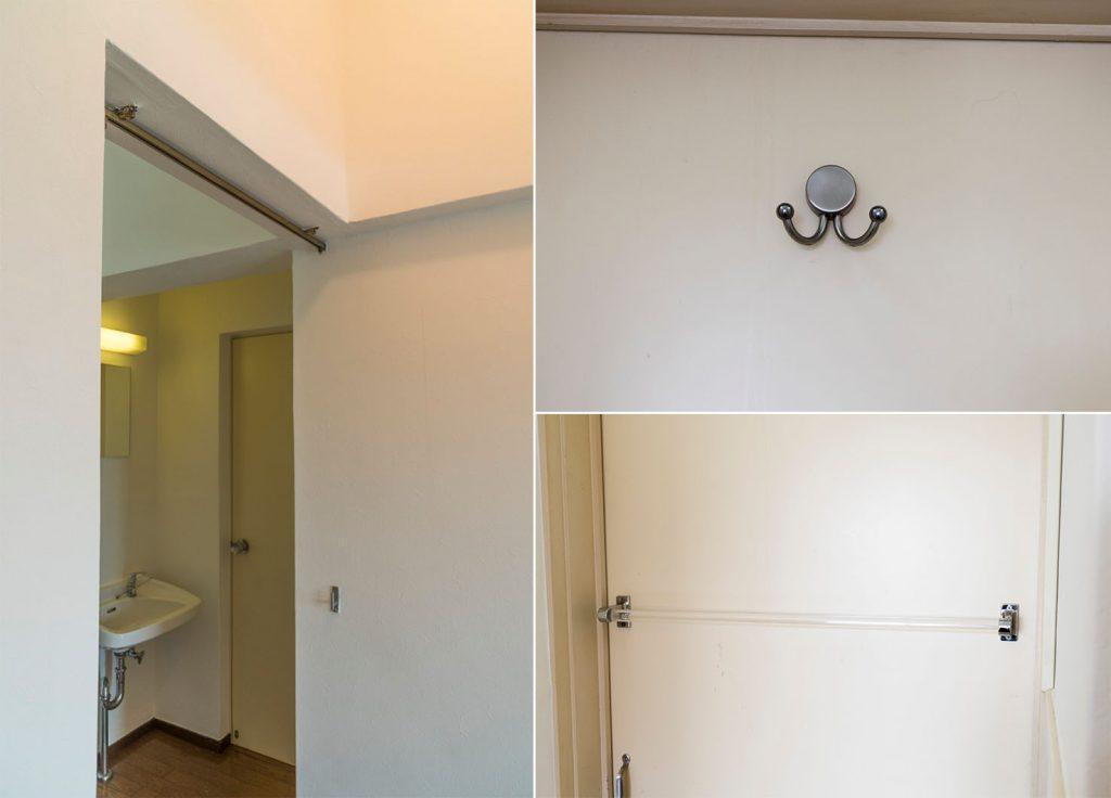 洗面入り口にはカーテンレールあります。
