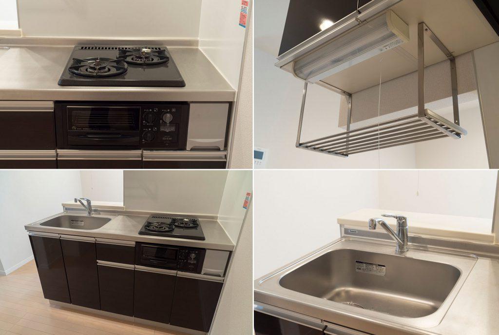 キッチン、水切り棚があるのうれしい。