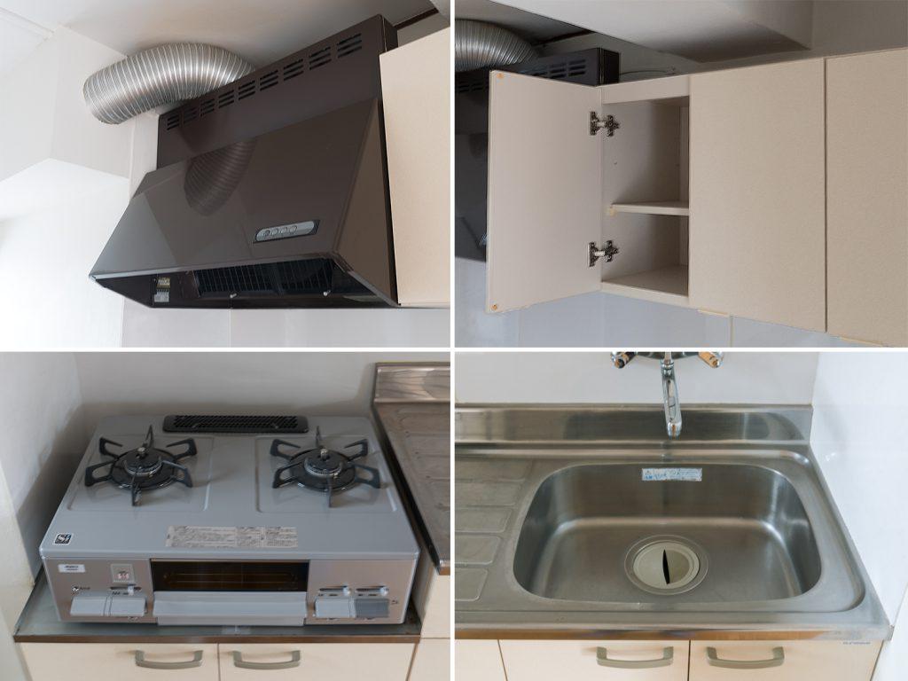 キッチンの設備。新しさはないけれど、清潔感があります。