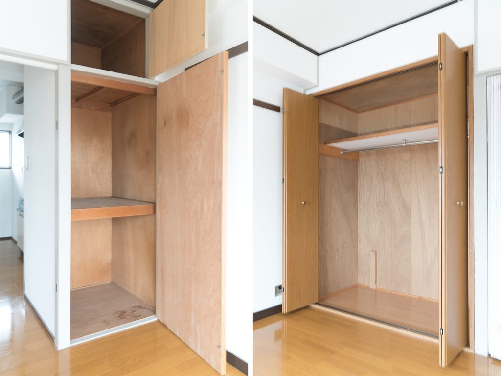 左が洋室4.5帖、右が洋室6帖の収納。