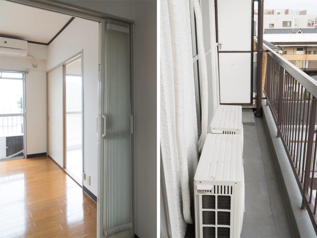 ダイニングと洋室を仕切るのは、光を通すアコーディオンカーテン。バルコニーは細長です。