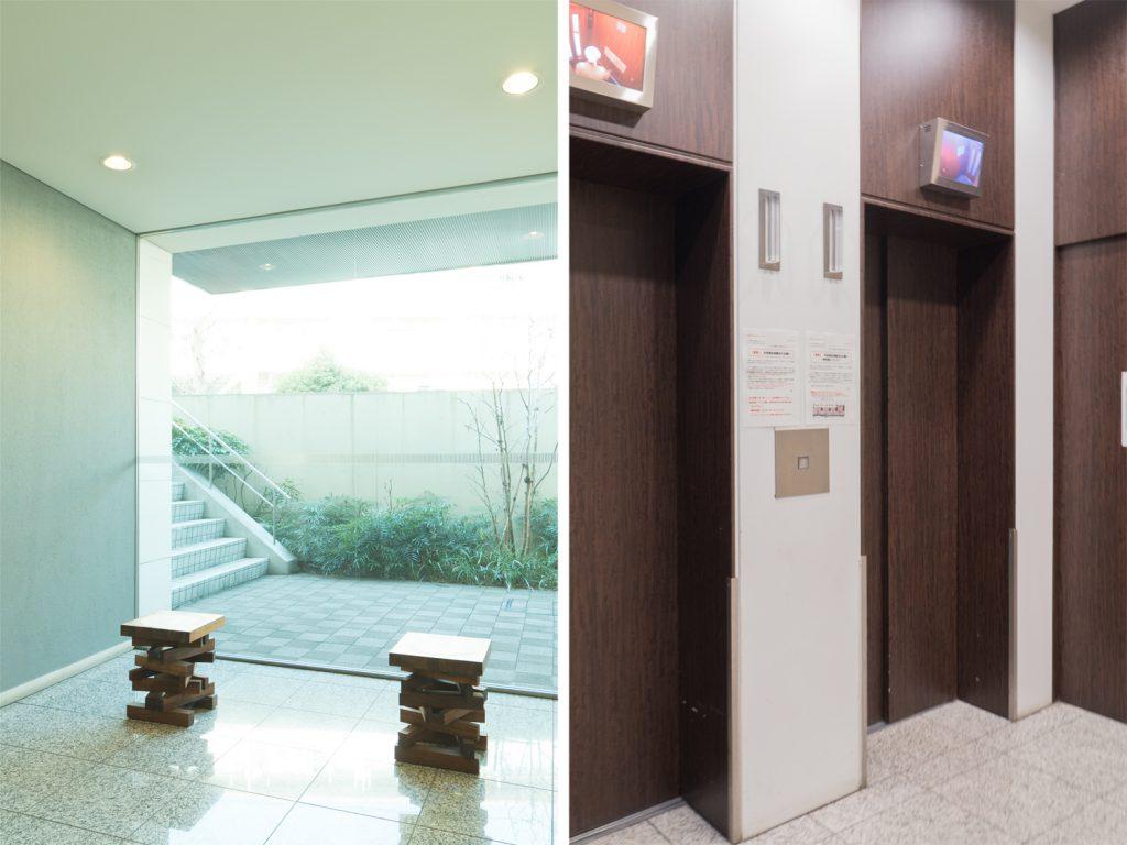 エントランスのインテリアと防犯カメラ付きのエレベーター。