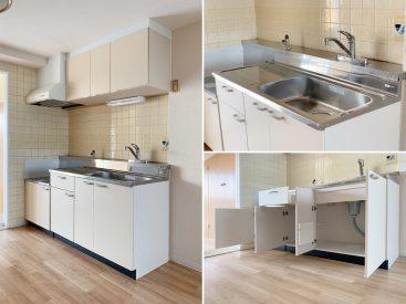 キッチンはシンプルに。2口ガスコンロが置けます。